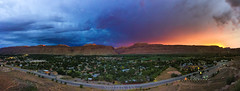 Moab, Utah (sheldonannphotography) Tags: sunset mountain moab utah city canyon arches national park colors rainbow blue purple pink orange yellow pano panorama panoramic town clouds sky
