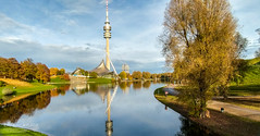 Olympic reflections (Dreamcatcher photos) Tags: munich tower bmw water reflections olympicstadium autumn