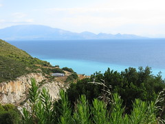 Somewhere on the way to Navagio Beach (~Ingeborg~) Tags: meinge greece griekenland coast kust zakynthos onderweg ontheway navagiobeach withsteve bluesea real echt mountains bergen sun zon verywarm ergwarm threemenandonewoman driemanneneneenvrow view ietsnevelig alittlemisty