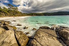 Fortescue Bay beach (NettyA) Tags: 2017 3capestrack australia sonya7r tasmannationalpark tasmanpeninsula tasmania tassie threecapestrack bushwalk bushwalking day4 hike storm clouds beach fortescuebay sand rocks shoreline shore coastal coastline