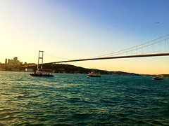 Sailing Through Istanbul Bosphorus Bridge (Jonathan-Livingston) Tags: bosphorus bridge boğaz boats ferry ship gemi motor