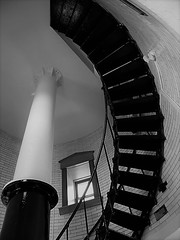 Spiral Staircase in Black and White (rabidscottsman) Tags: scotthendersonphotography blackandwhite bw mn minnesota castledanger splitrocklighthouse inside staircase spiralstaircase indoors travel travelphotography vacation holiday olympus pointandshoot lighthouse historic history brick steel railing lookingup window masonry greatlakes lakesuperior