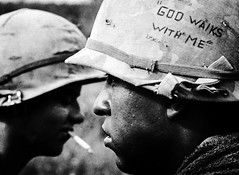 """GOD WALKS WITH ME"" 1967 (Peer Into The Past) Tags: 25thinfantry usarmy peerintothepast heroes military helmetart god religion blackandwhitephotography vintage 1967 history vietnamwar"
