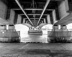 Second Severn Crossing (PapaPiper) Tags: severncrossing theriversevern unitedkingdom bw monochrome bridge concrete construction civilengineering symmetry