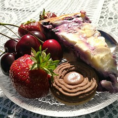 Sweets And Colors of the Summer (pvanhala) Tags: summer sweet plate colors strawberry cherry pie blueberry sunlight tasty