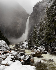 Snowstorm and Lower Yosemite Falls, Mariposa County, CA (4 Corners Photo) Tags: 4cornersphoto california clouds cold color fog forest landscape loweryosemitefalls mariposacounty mist mountains nature northamerica outdoor rock rural scenery sierranevada sky snow storm tree unitedstates water waterfall weather winter yosemitecreek yosemitefalls yosemitenationalpark yosemitevalley us