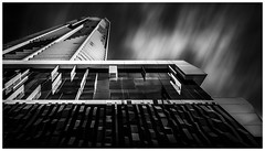 Spaceship (Jaka Pirš Hanžič) Tags: brisbane queensland qld australia building skyscraper architecture tall clouds cloudy movement motion black white bw monochrome day daylight long exposure nd 6 10 16 little stopper filter up perspective spaceship