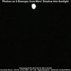 Watching Phobos Emerge from Mars' Shadow (PaulH51) Tags: nasa jpl marssciencelaboratory msl mastcamright curiosityrover nasajplcaltechmsss planetmars galecrater exploration discovery geology rocks planetaryscience photoscape scaleindescription phobos animation animatedgif timelapse moon mars