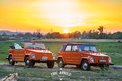 VW Things at Sunset (Eric Arnold Photography) Tags: vw volkswagen thing things type181 blackstar camp camping campout sunset california ca cali prado regional park chino hills 2017 1973 1974 73 74 vert convertible surf surfboard board