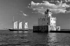 Heading Out (David C. McCormack) Tags: americana blackwhite bw blackandwhite boat eos eos6d environment greatlakes harbor inspiration lakemichigan lakefront lake landscape lighthouse midwest milwaukee monochrome outdoor wisconsin water yacht
