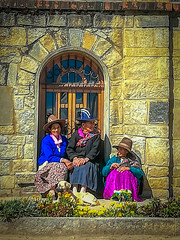 Some local ladies chatting outside the Church in Chacas.