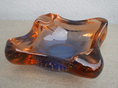 Large Murano Sommerso Cased Amber & Blue Glass Geode Bowl 1960's Mid Century Modern (beetle2001cybergreen) Tags: large murano sommerso cased amber blue glass geode bowl 1960s mid century modern