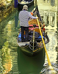 Gondola in Narrow Waterway (lhg_11, 2million views. Thank you!) Tags: travel travelphotography cruise europe venice venezia wate water canal boats gondola reflections