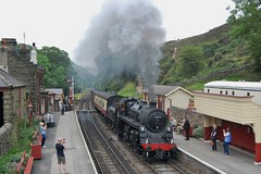 Goathland Arrival (paul_braybrook) Tags: 76079 brstandard class4 steamlocomotive goathland northyorkshiremoors nymr grosmont pickering heritage railway trains