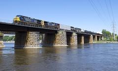 CN 327 (Michael Berry Railfan) Tags: yn2 csx csxt cn327 ge generalelectric ac4400cw bridge ottawariver kingstonsub quebec train freighttrain csxt508 csxt7798