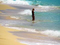 Not too sure (thomasgorman1) Tags: waves surf beach sand water sea ocean shorebreak shore tide hawaii woman person oahu makaha canon coast