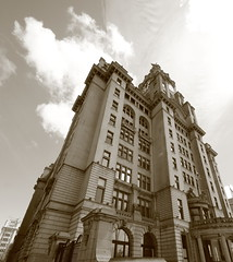 Liver Buildings , Liverpool, England. (Barry Miller _ Bazz) Tags: merseyside retro 5dmark3 photography wideangle lens waterfront sigma1525 canon sepia buildings liver liverpool