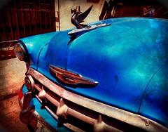 Blue Chevy (augenbrauns) Tags: painterly olympusomdem1ii olympus streetphotography phototoaster enlight snapseed cuba havana hoodornament chevy blue