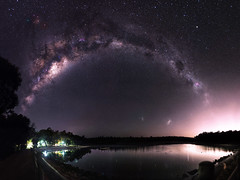 Milky Way over Lake Leschenaultia (inefekt69) Tags: lake leschenaultia mundaring westernaustralia australia great rift panorama stitched msice landscape wide astrophotography astronomy stars galaxy milkyway galactic core space night nightphotography nikon 50mm d5500 dslr long exposure perth southern southernhemisphere cosmos cosmology outdoor sky landscapeastrophotography mosaic water reservoir magellanicclouds largemagellaniccloud large small magellanic clouds lightpollution