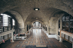 when.ruin.is.a.curve.of.calligraphic.delicacy (jonathancastellino) Tags: architecture abandoned derelict decay ruin ruins buffalo ny usa train station bct hall pattern leica m flag america window distance clock curve ceiling vaulted