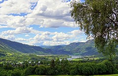 Green valley (janrs7) Tags: natur norway valley green july summer river vegetation skies sunny norge tree trees birch clouds mountains gudbrandsdalen nordiclandscape landscape sonyilc6000 view