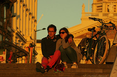 Portrait (Natali Antonovich) Tags: portrait sweetbrussels brussels belgium belgique belgie lifestyle stare stairway light sunset reverie together heandshe couple pair romanticism romantic architecture tradition bike