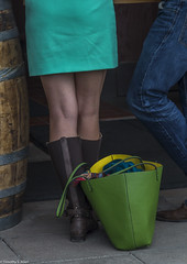 Green, Blue, Yellow, Turquoise, Red (allentimothy1947) Tags: vineyard winery color bag jeans boots green blue yellow torquoise red skirt legs