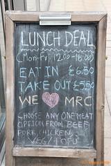 We Love Mister C (SelmerOrSelnec) Tags: manchester sign blackboard typo welovemanchester welovemrc