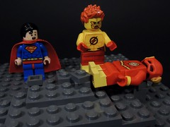 The Flash is Dead!!! (MrKjito) Tags: lego minifig super hero comic comics dc flash kid man crisis infinite earths cross over multiverse speed force dead wally west anti monitor