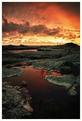 (Frank S. Schwabe) Tags: sunset sunlight summer sea shore sun canon coast clouds cloudy atlantic midnightsun dramatic pond karihola kristiansund nordmøre norway norge reflection