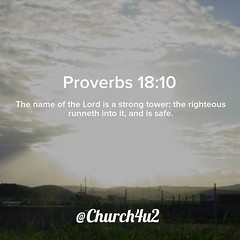 "Proverbs 18-10 ""The name of the Lord is a strong tower: the righteous runneth into it, and is safe."" (@CHURCH4U2) Tags: bible verse pic"