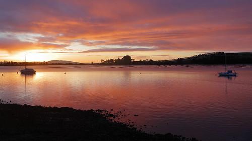 tasmania pipeclaylagoon lagoon sunrise clouds southarmpeninsula australia oysterbeds