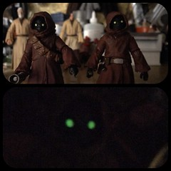 """Huge discovery the 40th SWBS 6"""" Jawas eyes glow in the dark. (chevy2who) Tags: toyphotography toy glow eye jawaseyesglow starwars40th starwarsblackseries40th series black 40th jawa wars star"""
