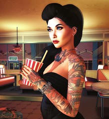 Peachy-keen, Jellybean (Scarlett Rhea (taking clients again)) Tags: rockabilly rock roll 50s diner milkshake soda tattoos