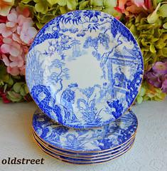 Royal Crown Derby Porcelain Salad Plates ~ Blue Mikado ~ Cobalt White ~ Gold (Donna's Collectables) Tags: royal crown derby porcelain salad plates ~ blue mikado cobalt white gold