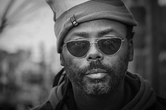 Pride (andy_8357) Tags: sony a6000 ilcenex ilce6000 alpha sigma 60mm dn art black man hat reflective glasses kind relaxed gracious white blancetnoir blanco y negro retrato closeup boulder colorado pearl street mall photography f28 sun beard mustache handsome guy
