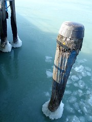 An ice pole in lake Trasimeno (Francesco Pesciarelli) Tags: ice frozen lake trasimeno umbria water pole sun flickr pesha teal colors italy italia centroitalia wood