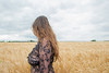 Profile portrait in the wheat field. (Azariel01) Tags: 2017 feluy belgique belgium transparent dress robe transparente céréales cereals field champ wheat blé woman femme breast sein poitrine womanly