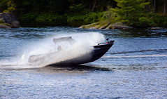Slow Down You move too fast (Lindaw9) Tags: boat spray motion shoreline shanty bay rock lake northern ontario