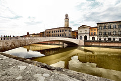 The Golden River (Roberto Rubiliani) Tags: architecture architettura acqua buildings canon edifici eos70d reflection fiume history italia italy people past passato palace rubiliani robertorubiliani river street travel tuscany toscana tower urban culture bridge ponte pisa