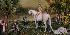 Queen Vaiwa & Her Mighty Mount (Duchess Flux) Tags: weloveroleplay hairfair vibes runaway deetalez catwa thetexurebarn waterhorse jinx fhhs appybottoms hayabusa jian nomad heart halfdeer anc fantasy unicorn elf secondlife sl