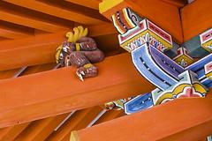 Hidden in Kishu Toshogu (DanÅke Carlsson) Tags: japan japanese demon guard kishu toshogu wakayama shrine orange traditional carving