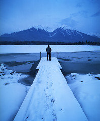 Sometimes doing nothing is the hardest thing to do (Zeb Andrews) Tags: pentax67 film kodakektar100 canada vermillionlakes banff blue dawn filmisnotdead alberta canadianrockies winter cold