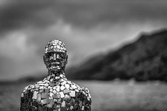Portrait (rgcxyz35) Tags: bokeh loch stfillans mirrorman blackwhitephotography scotland art trossachs nationalpark blackandwhite robmullholland lomondtrossachs lochearn statue