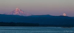 Mt Hood and Full Moon (Angie Vogel Nature Photography) Tags: mountain mthood moon fullmoon risingmoon sunset dusk evening columbiariver pacificnorthwest cascademountain