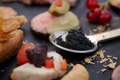 Food Detail (Ares Kalogeropoulos) Tags: food caviar meat spoon plate graphite cracklestasty sweet salty bitter juicy