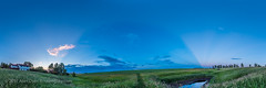 Panorama of Crepuscular Rays (Amazing Sky Photography) Tags: alberta crepuscularrays ptgui sunset twilight anticrepuscularrays atmosphericphenomenon cloudshadows panorama prairie sky
