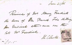 Receipt from Dr. Clarke for payment by Henry Fendick of £1. 5s. for Medical attendance on his late father William Fendick. Dated 21st June 1866. London (North West Kent Family History Society) Tags: receipt drclarke payment henryfendick £15s medicalattendance father williamfendickdated 21stjune1866 ecbdcollection 41cambridgestreet pimlico died 1april1866 46forestreet cityoflondon linendraper robertfendick 23portlandsquare bristol surgeon johnbrasnettfendick 126hollowayroad oilanditalianwarehouseman sons executors pomeroyandson wymondham