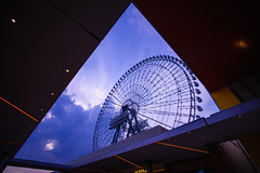 Giant wheel in triangle (Arbit Bamboo0101) Tags: superwideheliar 15mm color art wideangle purple wideanglelense city sony bigwheel light air a72 blue urban circle new triangle digital foigtlander giantwheel sky alpha72 a7ii osaka japan asia