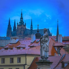 roofs and towers over Prague (Klaus Mokosch) Tags: prag prague praha night bluehour roof klausmokosch tschechien europe